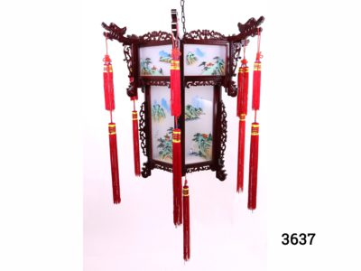 Large Chinese Palace lantern with wooden frame and hand-painted glass panels Main photo showing full lantern hung All panels depict a different countryside scene