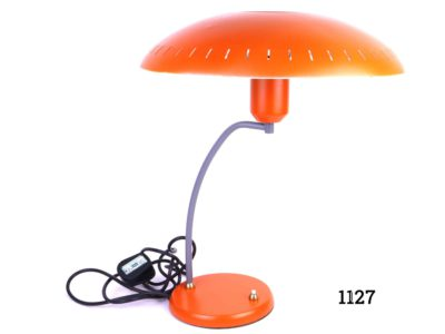 1950s-60s Louis Christiaan Kalff orange desk lamp Measures 150mm in diameter at base and 330mm across the top PAT tested Main photo showing whole lamp with curved arm