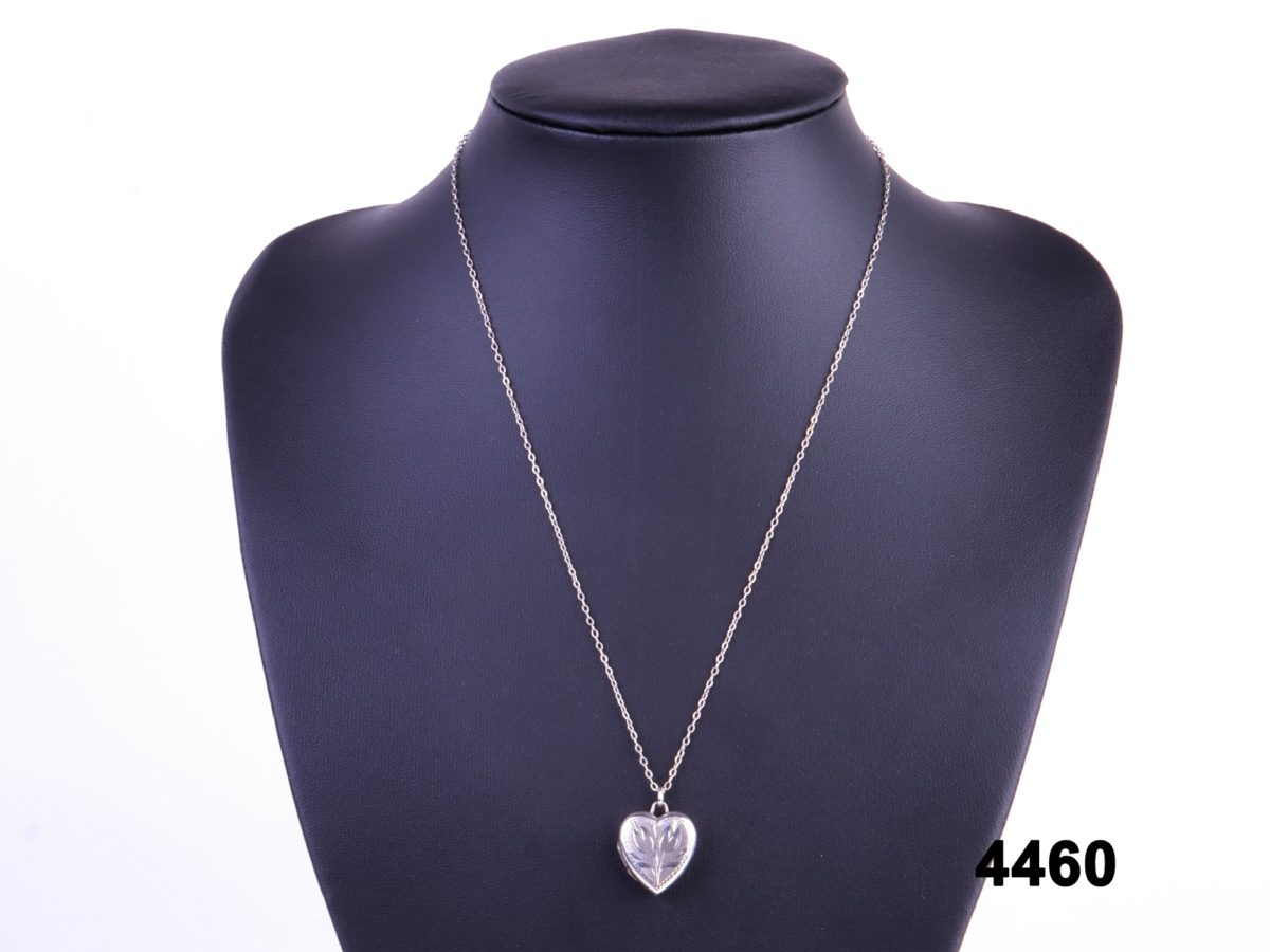 925 Sterling silver heart locket with tulip design on sterling silver chain from antiques of kingston