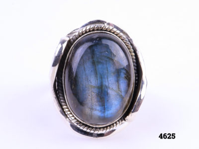 Chunky sterling silver ring with large labradorite stone Size X/11½ Main photo front of ring showing blue of stone