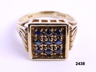 c1979 Vintage 9 carat gold signet ring set with blue sapphires in square formation from Antiques of Kingston