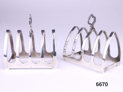 Pair of small 925 sterling silver 4 slice toast racks by E Viners c1936 Each measures 76mm long by 46mm wide by 82mm tall at handle point Main photo of both racks one at an angle