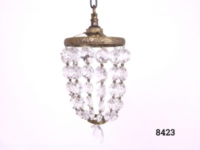 Small chandelier with bulb socket and ring in brass and cut crystal glass droplets Drop length from top of hook to base of chandelier 350mm Main photo of whole chandelier shown hanging