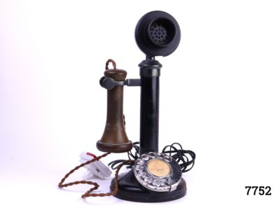 1920s GPO candlestick telephone with original dial converted for modern day usage Some signs of wear Measures 135mm in diameter at base Main photo of entire telephone with attachment for modern socket