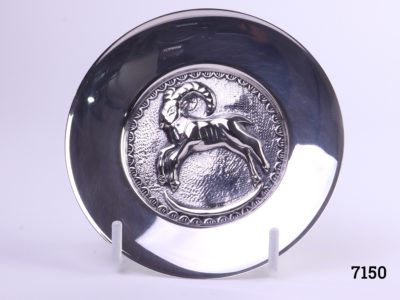Danish silver pin dish with a figure of a ram to the centre Hallmarked Nrn 830 Measures 97mm in diameter Main photo showing front of dish on display stand