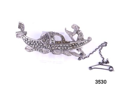 Vintage silver gondolier brooch encrusted with marcasite pieces with safety chain (No visible hallmark but tests for silver) Main photo of front of brooch showing gondola and gondolier