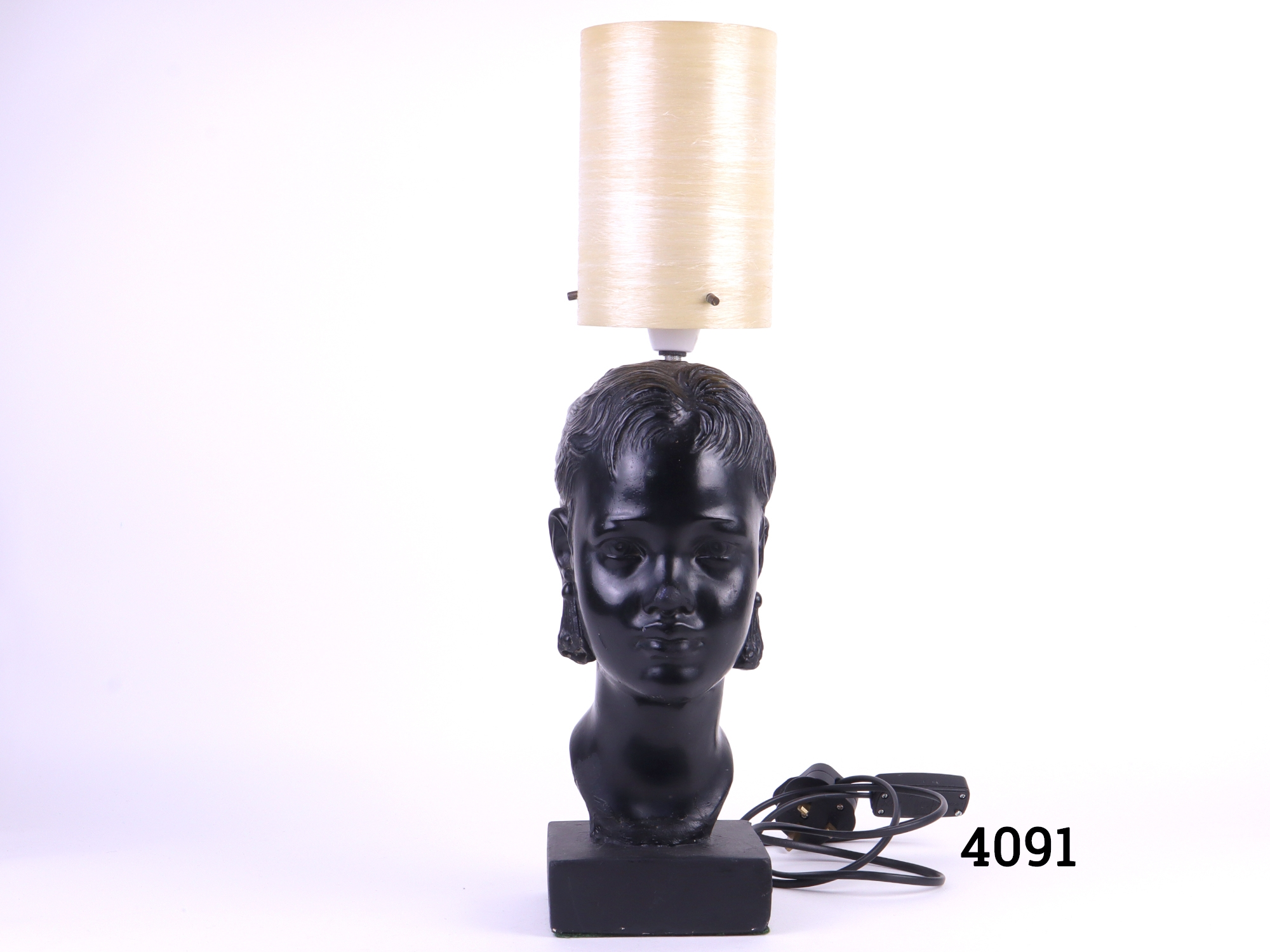 1950s-60s lamp with a ladys head at the base and fibre glass shade Initialled & numbered and bottom of the base Main photo showing front view of the whole lamp with shade