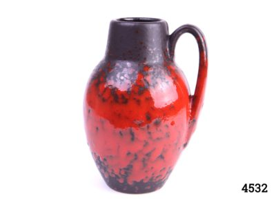 West German Scheurich red & black pottery handled lava vase Stamped W.Germ 474-76 Measures 60mm in diameter at base Main photo showing vase with handle to the right side