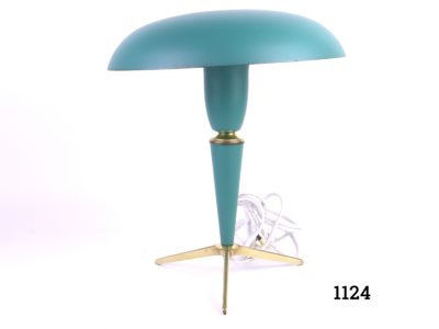c1950-59 Strong Cyan Blue/Green Atomic lamp on 3 gilt metal feet by Louis Kalff - Art director at Philips Measures 180mm across base and 260mm in diameter across top Main photo of whole lamp