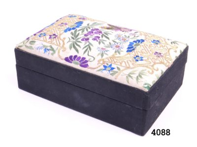 Chinese Qing dynasty silk embroidered box with floral scene and butterfly Some signs of wear of the internal silk lining Main photo of whole box showing embroidered top and 2 sides