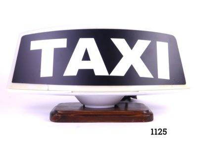 Italian taxi sign converted into a lamp on a wooden base Original 1970s vintage Sign measures 330mm by 70mm Main photo showing front of lamp