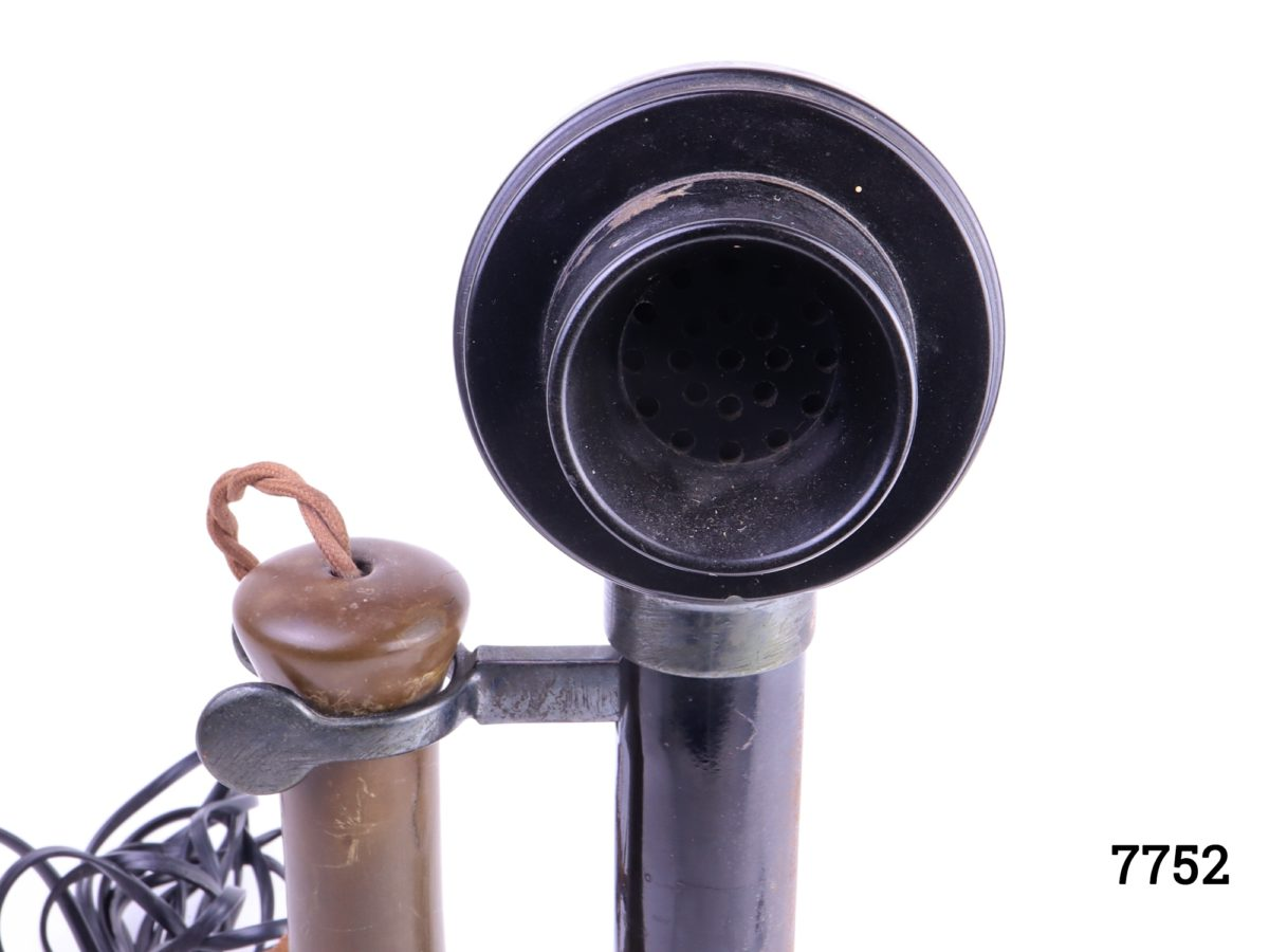 1920s GPO candlestick telephone with original dial converted for modern day usage Some signs of wear Measures 135mm in diameter at base Close up photo of mouthpiece