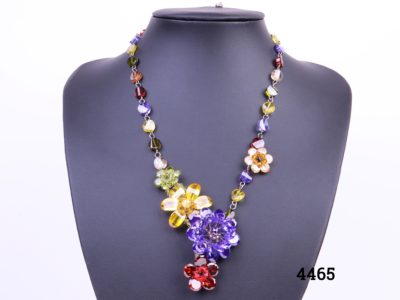 Colourful Butler and Wilson necklace with multi-coloured crystal flowers and beads Comes in original box Length adjustable from 420mm to 500mm Main photo showing necklace displayed on stand