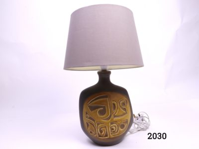 Mid Century pottery lamp in brown and ochre with pale dusky pink/lilac shade Shade measures 300mm in diameter at bottom and 200mm high Main photo of the whole lamp with shade