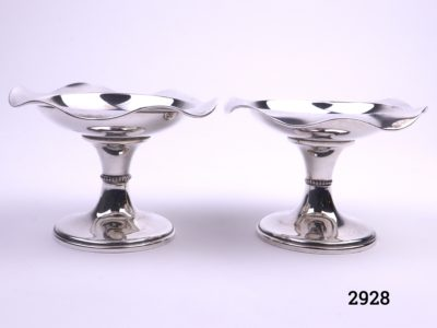 Pair of small silver tazzas Fully hallmarked for sterling silver c1908 Birmingham assayed Each measures 58mm in diameter at base and 95mm across the top Main photo showing both tazzas side by side
