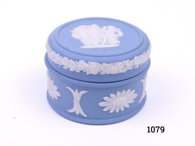 Vintage Wedgwood small lidded pot in the classic Jasperware light blue c1962 Measures 46mm in diameter Main photo of pot with lid in place