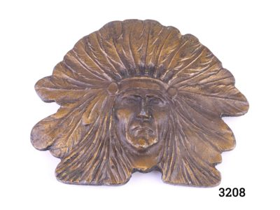 Vintage bronze effect metal belt buckle of an Indigenous Native American in full feather head gear Main photo showing belt buckle front