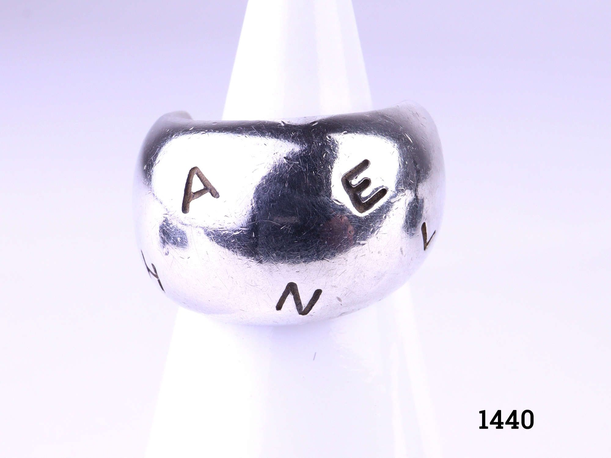 925 Sterling silver chunky Chanel ring. Width at front 11mm. Comes with Chanel pouch. A very small size H / 3.75