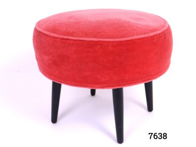 1960s Circular low stool by Hanleys of Worcester with pink velvet cushioned seat Measures 420mm in diameter Cushion depth 140mm Main photo of stool sideways on