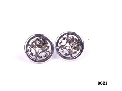 Ola Gorie silver stud earrings. Made in the Orkney Islands. Butterfly back fastening. Comes in original Ola Gorie box. Stud front measures 10mm in diameter. Weight 1.3g Main photo of front view of both earrings