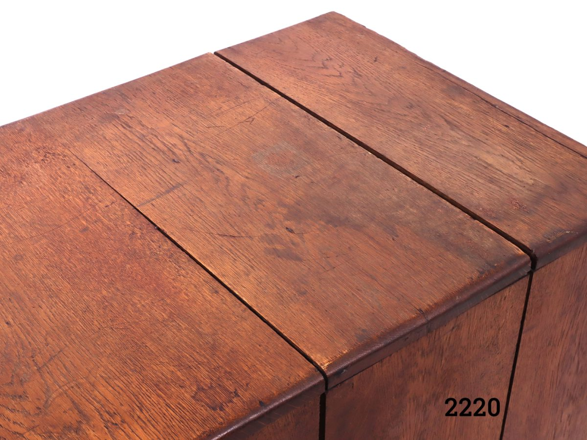 Vintage wooden index card cabinet with 15 metal drawers Each drawer measures 540mm long by 100mm wide and 65mm deep Photo of the top of box showing gaps in the wooden box
