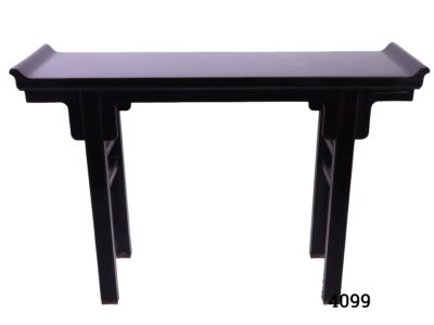 Oriental style black lacquered console table in a form similar to Japanese Torii (Shrine gateway). Some wear to the lacquer at the base of the legs. Main photo looking at table from the front