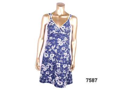 Original 1960s St Michaels mini dress in blue and white floral pattern. Size 10. (Some staining on inside bust area) Main photo of front of dress