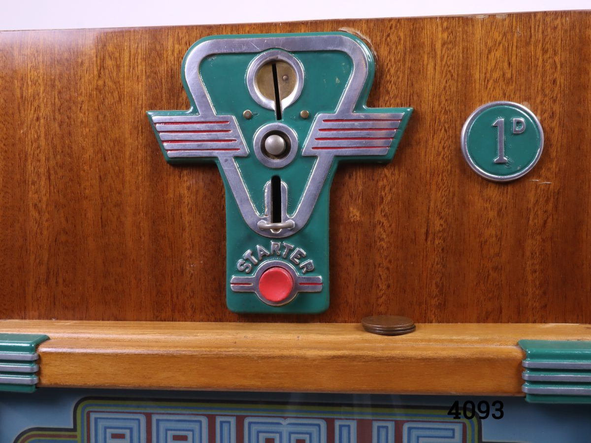 Primus one arm bandit slot machine c1958 by A Wulff & Co of Germany.  Operates on the old penny (1d) In good working order (Operates smoother with unworn old pennies) Close up photo of the coin slot