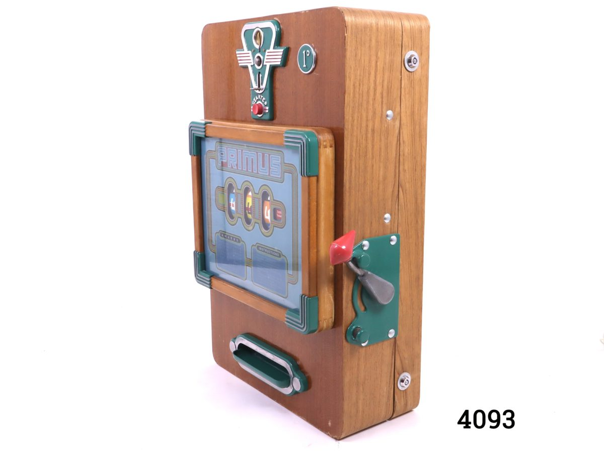 Primus one arm bandit slot machine c1958 by A Wulff & Co of Germany. Photo of the machine at a slight side angle