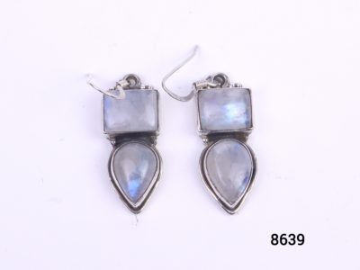 925 sterling silver earrings set with rainbow or blue moonstones. from antiques of kingston