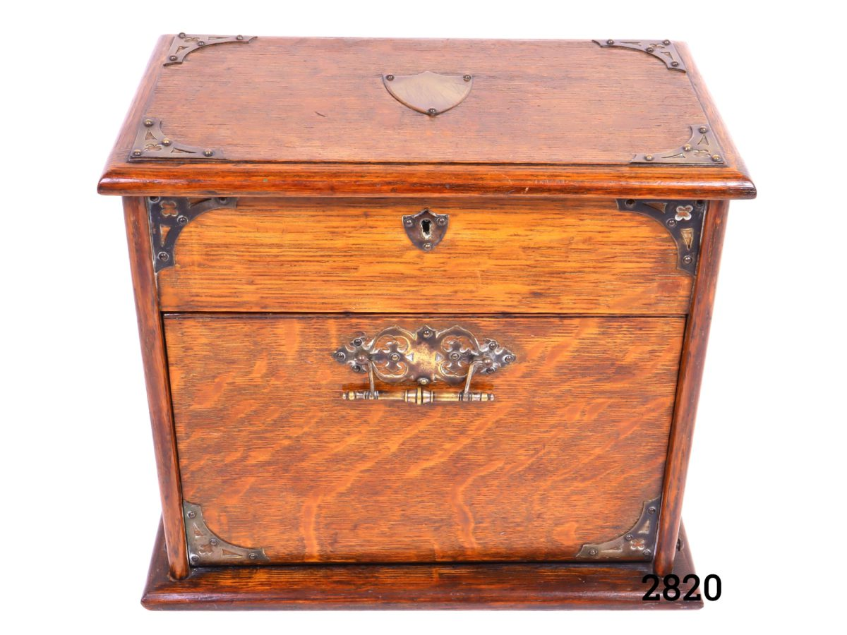 Antique stationery cabinet in wood with brass fittings from Antiques of Kingston