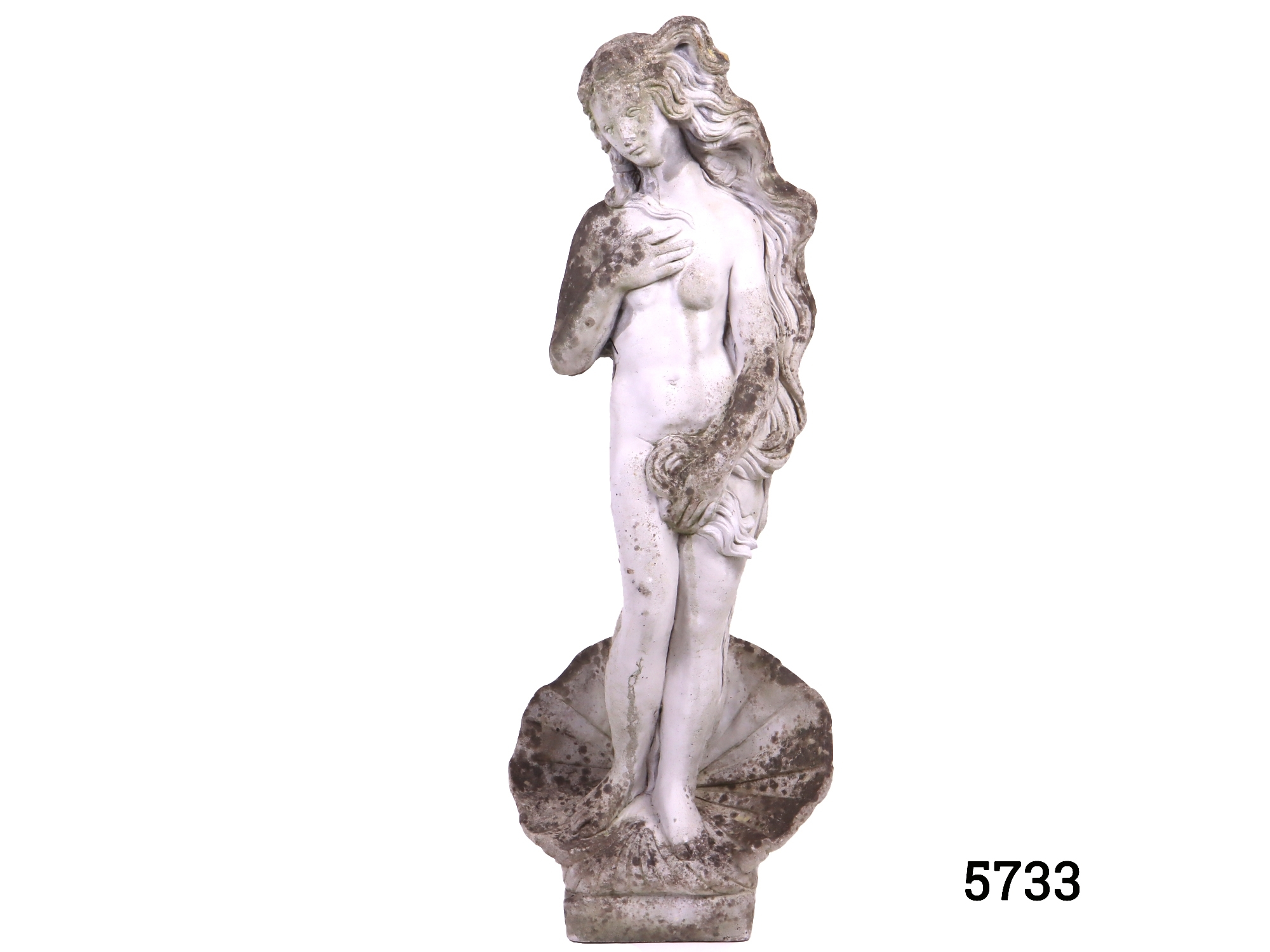 Well weathered concrete garden statue fashioned in the form of Sandro Botticellis Birth Of Venus. Square base measures 175mm by 165mm Main photo showing the whole statue from the front