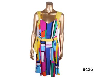 Vintage French multi-coloured dress with in a Mondrian style with block colours and yellow (chiffon?) accent on shoulders, neck & waist c1970s Made in Paris Size 10-12 Main photo showing front of dress displayed on mannequin