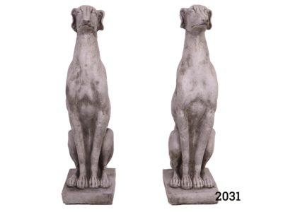 Pair of contemporary greyhound statues for indoor or outdoor use in well weathered concrete Main photo showing both dogs standing side by side from a front facing angle